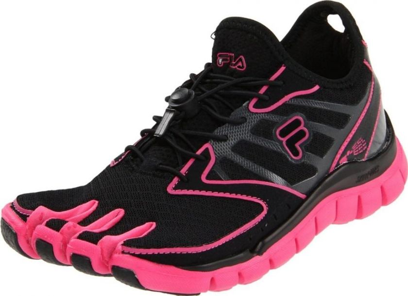 82aed7c61f072 Fila Skele Toes AMP Womens Running Shoe Black   Hot Pink   Castlerock