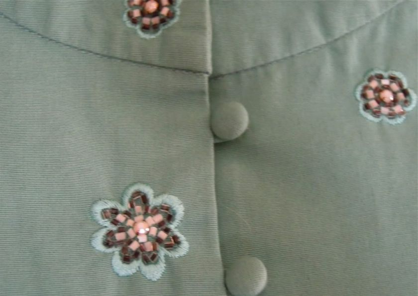 Anthropologie Lithe Sea Green Beaded Jacket Top 12 L