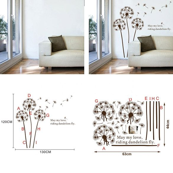Removable HD Dandelion Flower Tree wall decor decal vinvy Wall Sticker