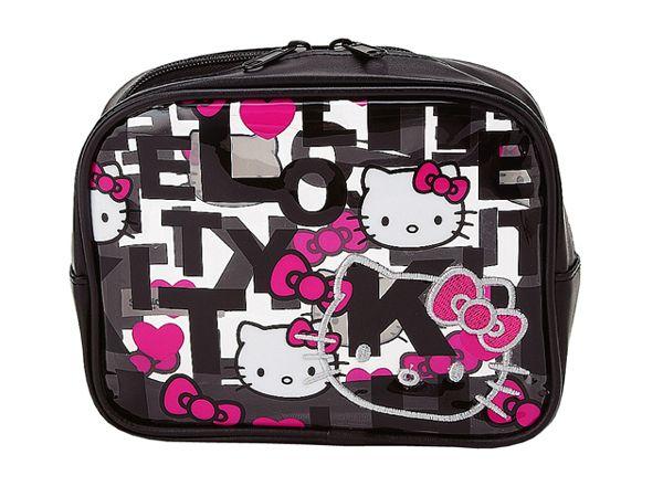 Sanrio   Hello Kitty Black Quilt Medium Clear Vinyl Pouch