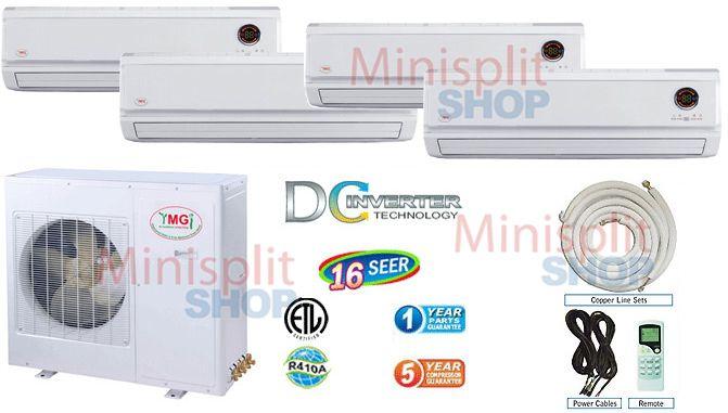 Ductless Mini Split 4 x 12000 Air Conditioner A/C Heat Pump Inverter