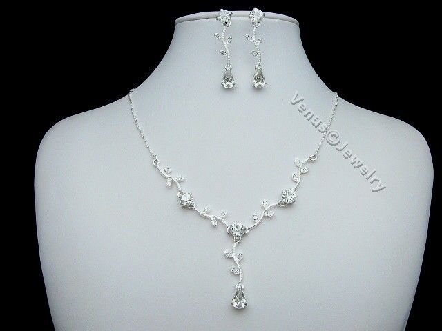 Bridal Wedding Prom Crystal Necklace Earrings Set 1246