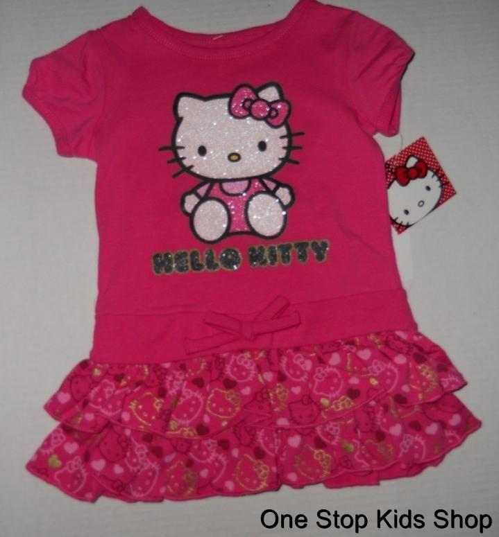 HELLO KITTY Girls 2T 3T 4T Set Outfit DRESS Shirt Skirt