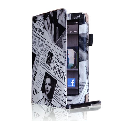 Newspaper  Kindle Fire Leather Case/Stylus/Car Charger/USB Cable