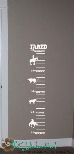 Cowboy Child Growth Chart Vinyl Wall Sticker Decals 516