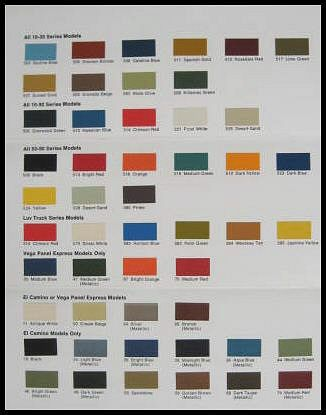 1974 Chevy Chevrolet Truck Paint Chip Color Chart Orig.